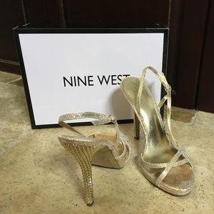 Nine West Gold Heeled Sandals-8.5